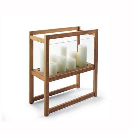 Zander Teak and Glass Candle Holder by Porta