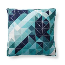 Faceted Angles Peacock Outdoor Pillow by Porta Forma