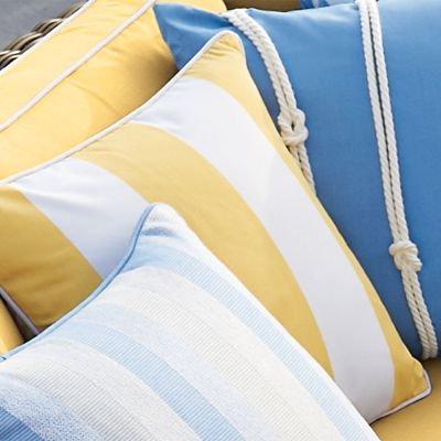 Bring A Contemporary Feel To Your Outdoor Area With Our Durable And  Quick Drying Resort Stripe Outdoor Pillow In Lemon. The Nautical Design  Paired With The ...