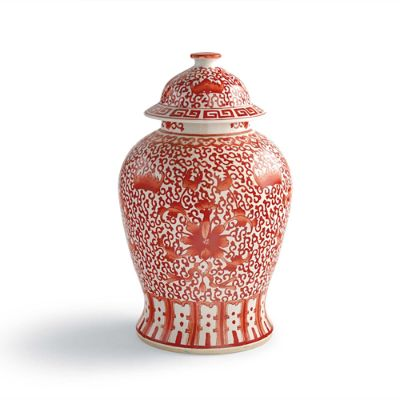 Coral And White Chinoiserie Flower Jar Frontgate