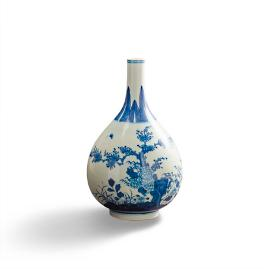 Narrow Mouth Chinoiserie Vase