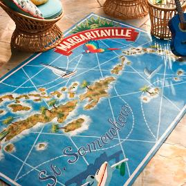 Margaritaville St. Somewhere Map Outdoor Rug