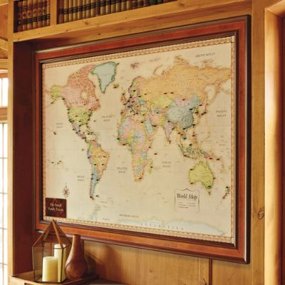 World Magnetic Travel Map with Burlwood Frame Frontgate – Magnetic Travel Map