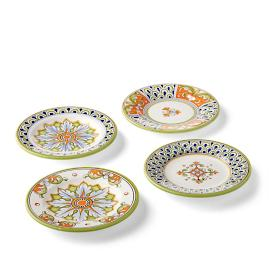 Deruta Handpainted Appetizer Plates, Set of Four