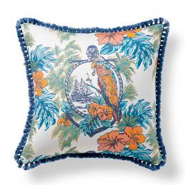 Margaritaville Parrot Palm Indigo with Eyelash Fringe Throw