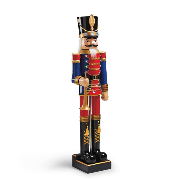 Marching 5 ft nutcracker with horn frontgate for 4 foot nutcracker decoration