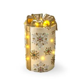Ivory with Gold Snowflakes Icy Fiber-optic Gift Box