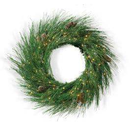 Icy Pine Twinkle Light Wreath