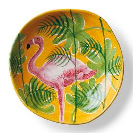 Tropicale Flamingo Shallow Serving Bowl