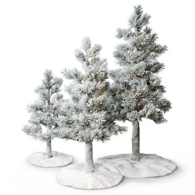 Three Frontgate Snowy Alpine Trees with Fur Skirts