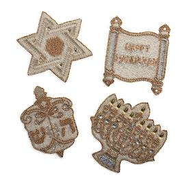 Hanukkah Beaded Coasters, Set of Four