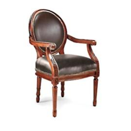 Langston Round Back Arm Chair in Walnut Finish