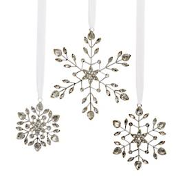 Vintage Jeweled Snowflake Ornaments, Set of Three