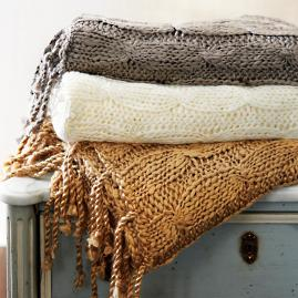 Cableknit Tassel Throw