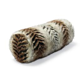 Luxury Faux Fur Bolster Pillow in Sculpted Tiger