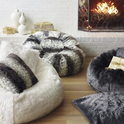 Luxe Faux Fur Bean Bag Chair Frontgate