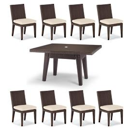 "Palermo 9-pc. 62"" Square Dining Set in Bronze"