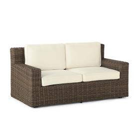 Hyde Park Loveseat with Cushions in Ocean Grey