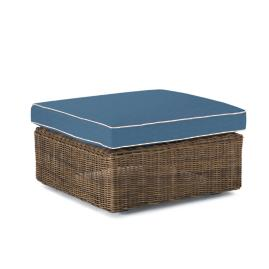 Hyde Park Ottoman with Cushion in Ocean Grey