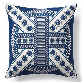 Mayan Ring Navy Outdoor Pillow