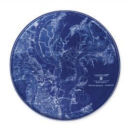 Nautical Chart Rimmed Dinner Plate