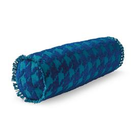 Houndstooth Fun Indigo Outdoor Bolster Pillow