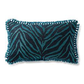 Zebra Linen Peacock Outdoor Lumbar Pillow
