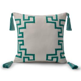 Dynasty Monogram Jade Outdoor Pillow