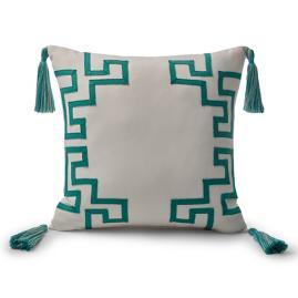 Dynasty Monogram Jade Outdoor Pillow