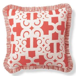 Oriental Gate Peony Outdoor Pillow