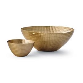 Brass Waffle Bowls by Porta Forma, Set ot