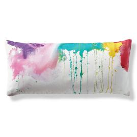 Color Drips Hand-painted Outdoor Lumbar Pillow by Porta