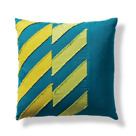 Spliced Chevron Emerald Outdoor Pillow by Porta Forma