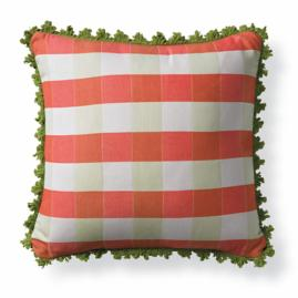 Gingham Peony Outdoor Pillow