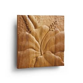 Hibiscus Teak Wall Art
