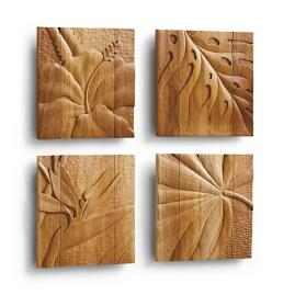 Teak Wall Art, Set of Four