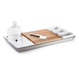 Filo Rectangular Tray with Snack Holder by Porta
