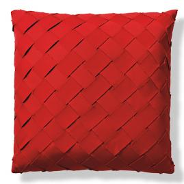 Diamond Basket Crimson Outdoor Pillow by Porta Forma