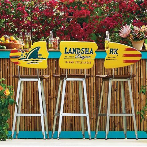 Margaritaville Landshark Surfboard Barstool 3-Piece Set