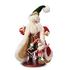 Mark Roberts Candy Cane Santa with Elf