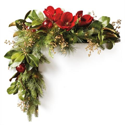 Holiday magnolia pre decorated mantel corner swags set