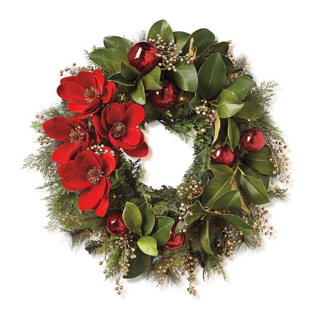 Holiday magnolia pre decorated wreath frontgate
