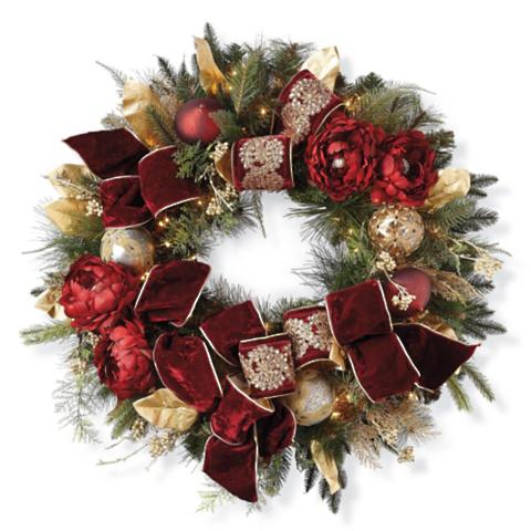 Parisian christmas pre decorated wreath frontgate