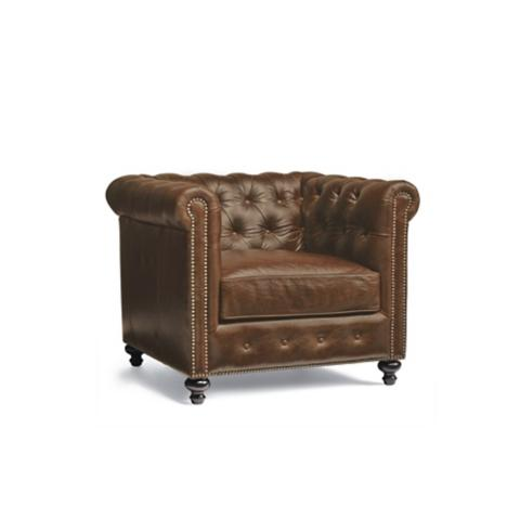 Petite Chair petite barrow chesterfield leather chair | frontgate