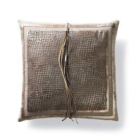 Ariana Laser Cut Metallic Hide Decorative Pillow