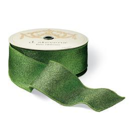 Green Woven Mesh Lamé Ribbon