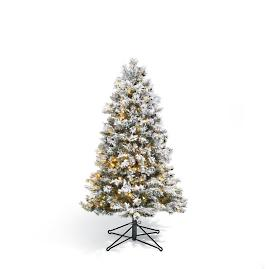 Flocked Norway Spruce Tabletop Artificial Pre-lit Christmas Tree