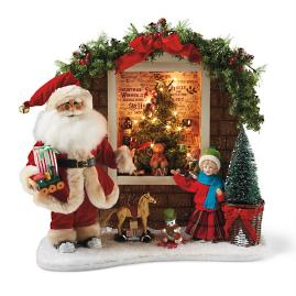 Karen Didion Lighted Toy Window Santa