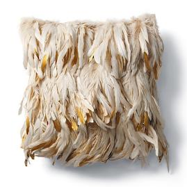 Gold Dipped Feather Decorative Pillow