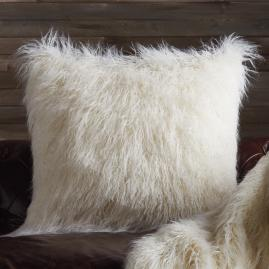 Faux Mongolian Sheepskin Decorative Pillow in Ivory